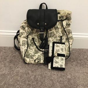 Claire's bear backpack with matching wallet